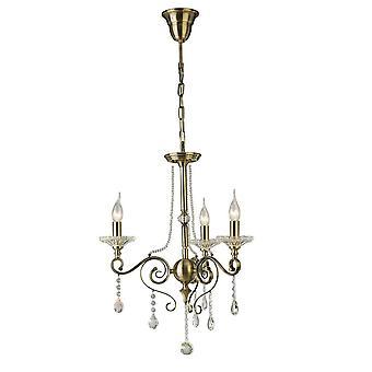 Geïnspireerd Diyas - Weegschaal - Plafond hanger Kroonluchter 3 Licht Antieke Messing, Crystal