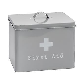 Industrial First Aid Box - Vintage Style 2-Tier Steel Medicine Storage Organiser - Grey
