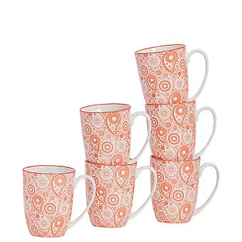 Nicola Spring 6 Piece Paisley Patterned Tea and Coffee Mug Set - Large Porcelain Latte Mugs - Coral - 360ml