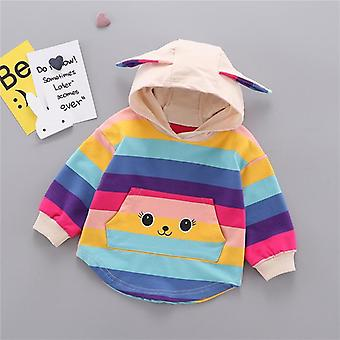 Autumn Toddler Baby  Hooded Sweatshirt- Kids Striped Cartoon Ear Hoodie / Tops,