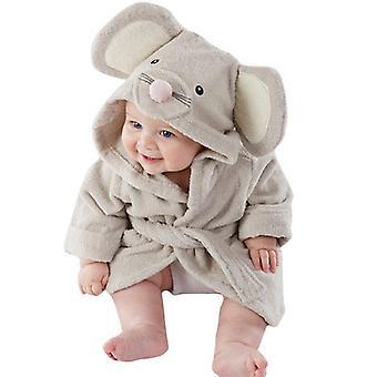 Carino, orecchie animali accappatoio, cintura con cappuccio a maniche lunghe