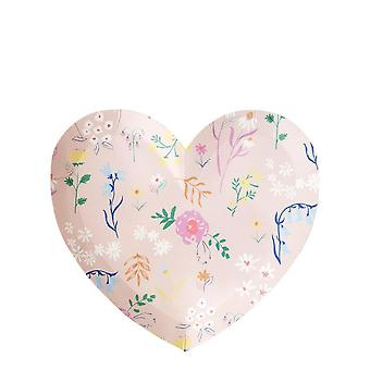 Meri Meri Wildflower Heart Small Party Plates x 12