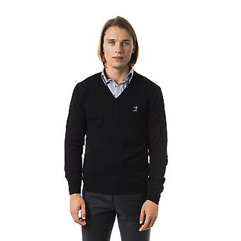 Uominitaliani Black Nero Long Sleeve Extrafine Wool Sweater