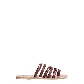 Sandales grecques antiques Nikinailsvachettacotto Femmes-apos;sandales en cuir brun