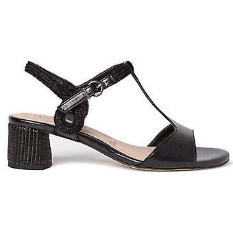 Tamaris Black Heeled Geflochtene Sandale