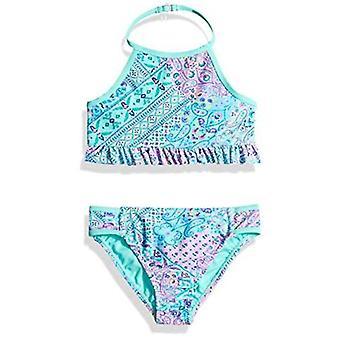 Angel Beach Big Girls' Korkea kaula bikini uimapuku setti röyhelöllä, violetti laatta...