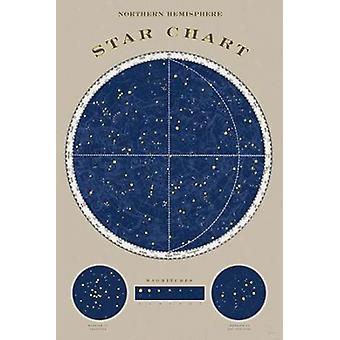 Carte du ciel du Nord affiche Print par Sue Schlabach