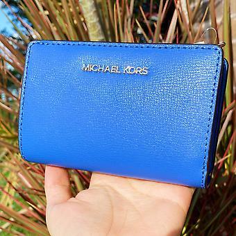 Michael kors jet set matka nahka kaksitaiminen zip-kolikko lompakko luottokortin haltija sininen