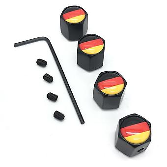 Germany Flag Set of 4 Black Anti-Theft Car Tyre Air Dust Valve Stem Cap With Allen Key