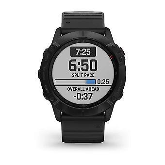 Garmin 010-02157-01 Fenix 6X Pro Black Carbon DLC met Zwarte Siliconen Strap Smartwatch