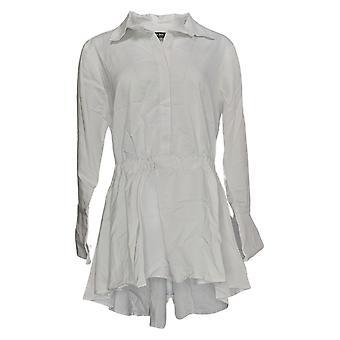 Du Jour Mujer's Blusa de bajo bajo y alto con puños cortados blanco A303289