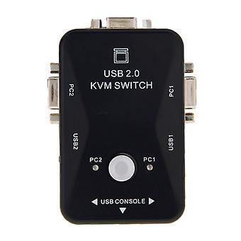 KVM-21UA 2 Anschlüsse USB KVM Switch Box mit Steuertaste für PC-Tastatur-Mausmonitor (Schwarz)