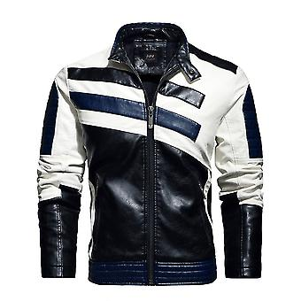Menăs Retro Pu Jackets Slim Fit, Motocicleta Outwear Warm Bomber Militare