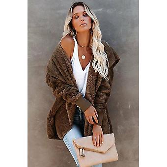 Women's Khaki Classic soft fleece kapucnis nyitott első téli kabát