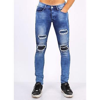 Biker Jeans With Zip - Slim Fit - ZS1061- Blue