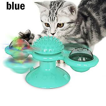 Windmill Toys For Cats Puzzle Whirling Turntable Training Kitten Interactive