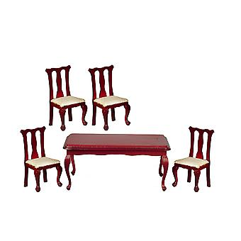 Dolls House Mahogany Queen Ann Dining Room Furniture Set With Rectangular Table
