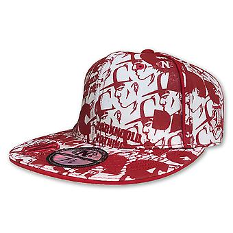 Darkncold All Over Print Fitted Baseball Cap White Red