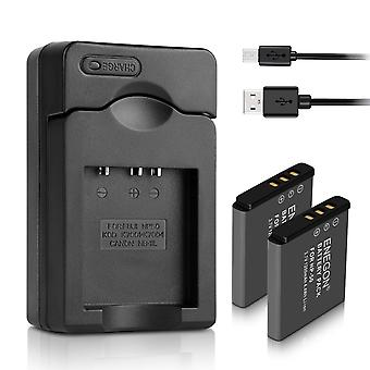 Enegon replacement battery(2-pack) and charger for fujifilm np-50 bc-45w bc-50 and fujifilm finepix