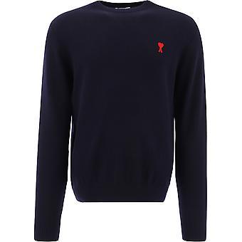 Ami E21hkk001001410 Men's Blue Wool Sweater