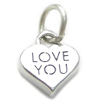 Love You Sterling Silver Charm .925 X 1 Loving Charms - 4015