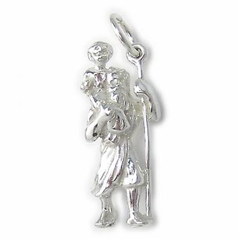Saint Christopher Sterling Silver Charm .925 X 1 Voyageur voyageant - 4642