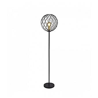 1-light Finesse Floor Lamp With Wavy Bar - Black With Gold Sockets