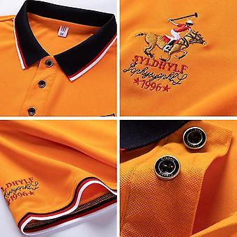 Zomer Mannen Polo Shirt, Borduurwerk Mannen Casual Solid Color Korte Mouw