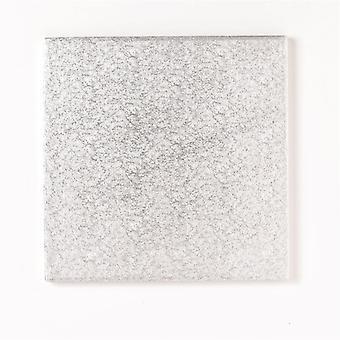 """8"""" (203mm) Cake Board Square Silver Fern - single"""