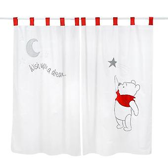 Gray Winnie The Pooh Sleeping Baby 2 Curtains