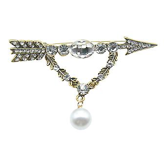 Brooch Pin Cupid Arrow Bow Corsage Pearl Ladies Brooch