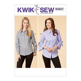 Kwik Sew Sewing Pattern 4247 Misses Blouse Shirts Size XS-XL