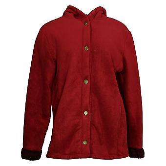 Cuddl Duds Women's Fleecewear Bonded Sherpa Snap Front Jacket Red A381706