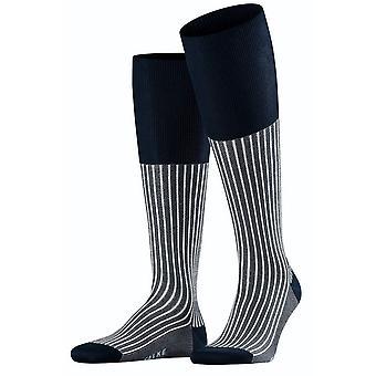 Falke Oxford Stripe Knee Calze alte - Atlantic Blue