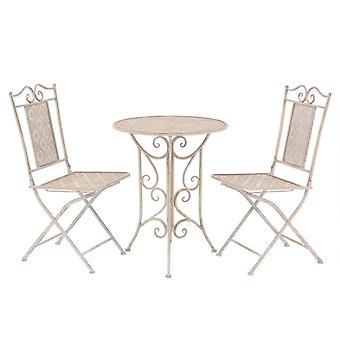 Bistro Set de 3 piezas de acero blanco