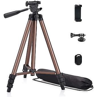 HanFei 125cm Aluminium Stativ fr Handy, Kamera, iPhone, Gopro, Projektor mit Smartphone und Halterung