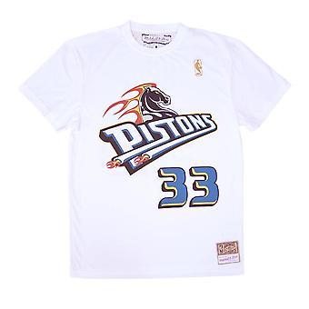 ミッチェル&ネス NBAデトロイトピストンズグラントヒルネームナンバーSSTEINTL972DPIWHITGHIバスケットボールオールイヤーメンズTシャツ