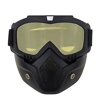 Motorsykkel ridning briller med avtagbar ansiktsmaske