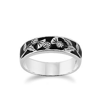 Gemondo Sterlingsilber 4.8pt Markasit & schwarzer Emaille floralen Bandring