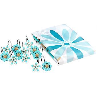 douchegordijn Bloemen 180 cm textiel wit/blauw