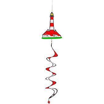 windgong-Leuchtturm 110 x 18 cm Polyester weiß/rot
