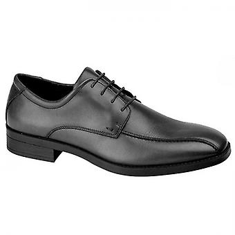 IMAC Ruso Mens Leather Tramline Derby Shoes Black