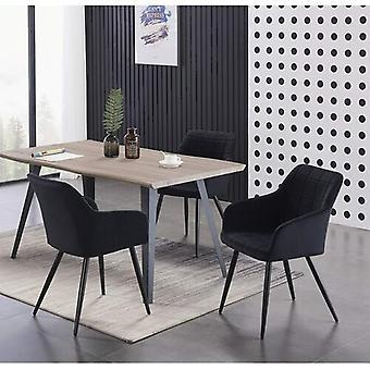 Lusso & Carmello Dining Set | Modern Dining Table | Velvet Dining Chair | Modern Set |  (light Walnut & Black)
