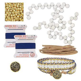 إعادة التعبئة - العسل مزدوجة ملفوفة سوار النول - الأزرق والأبيض - الحصري Beadaholique مجوهرات كيت