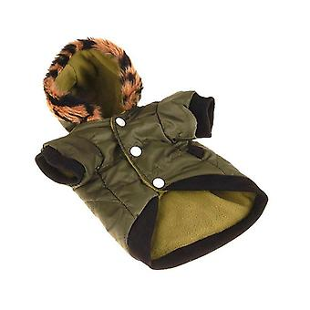 Dog cat clothes army green leopard print hat cotton-padded jacket winter