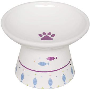 Extra breiter erhöhter Futternapf für große Katzen, bleifrei, spülmaschinenfest, mikrowellengeeignet