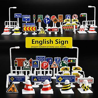 Mini Traffic Signs Road Light Block With Sound Led Kids Educational