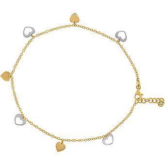 14k twee toon gouden womens gepolijste afwerking liefde hart enkelband sieraden geschenken voor vrouwen - 2,5 gram