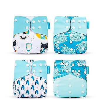 4 Piece set of washable reusable eco-friendly cloth diaper fit for  0-2years old,  3-15kg baby