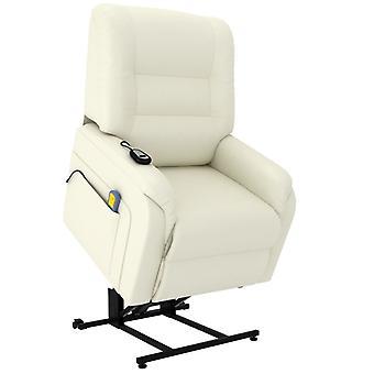 vidaXL masaż fotel TV ze stand-up pomocy Elektryczny krem skórzany